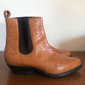 VINTAGE 70s BFC Tan Western Chelsea Boots 6.5